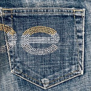 Bebe Carmen Jeans Tri Color Crystals Size 30